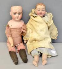 H & L No 2, English bisque headed doll, cloth body with bisque hands and feet 40cm, and a Alama bisque headed with cloth body