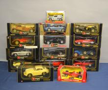 Die cast metal model Burago cars, to include Jaguar E Cabriolet, all boxed, approx 15, 1.18 scale