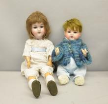 Armand Marseille doll No 990, bisque head on composite body 36cm and another No 390, 50cm