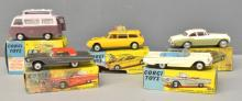 Five Corgi Toys model vehicles, comprising 420 Ford Thames Airborne Caravan, 436 Citroen Safari, 224 Bentley Continental Sports Saloon, 214S Ford Thunderbird and 215 Ford Thunderbird Open Sports, (5), all in original boxes,