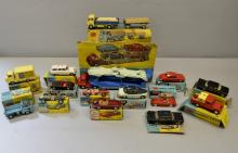 Corgi toys,  Gift set No. 11, No 's 223, 409, 419, 411, 155, 154, 307, 417, 302, 204, 208, 300, 223,   and box lid and car carrier for gift set No. 1,