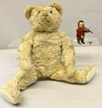 Schuco dancing clown playing a violin 10cm and an English plush blonde teddy bear 48cm
