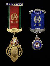 Royal Antediluvian Order of Buffaloes 9ct gold medal, with 'Treasurer' bar for Nore Lodge No. 6484, engraved verso, and a silver medal with bar marked 'Primo' for the same lodge and brother F. Desborough, gold medal gross weight 21g,