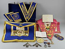 W. Bro William  J Hammond, formerly in the Kingston Lodge  Collection of Masonic Regalia, to include :Grand Vice Patron medal Silver medallion  inscribed ' Presented to W Bro William J Hammond W M 1953 - 54  By Lodge of Four Virtues No 6275Silver medallion  inscribed Wor. Bro W B Hammond , Worp. Master Rectitude Lodge  No 4727 1955 -56 Initiates Bro S J Simmons Bro  A G Clissold Bro TH Webber1948 Steward medal with 1965 bar and 1968 bar Two copper tokensThree London Badges Pink embroidered collar with medallion and apron Blue embroidered  collar with medallion  two pairs gauntlets  and apronBlue  Collar and apron Two leather suitcases Provenance: This lot is being sold on behalf of the Debra Charity Shop, East Horsley