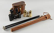 Pair of military binoculars, tripod and mother-of-pearl opera glasses,