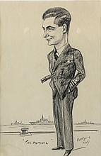 Pat Rooney, Cartoon depicting Admiral Mark Pizey, signed and dated 1948,