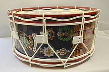 Queens Regiment Bass Drum, this drum has been made and donated by a Chelsea Pensioner, M O'Donnell to raise funds for the charity, The Queens Regt. Memorial Woodland for Fallen Servicemen,