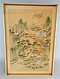 Chinese print on silk landscape scene, signed
