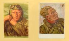 Two original postcards with pictures of German fighter pilots WWII