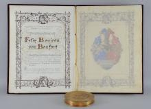 19th century Austro-Hungarian wax seal for the Emperor Franz Joseph in metal case and book with purple velvet and gilt decorated cover in fitted metal case, believed to be a record of title