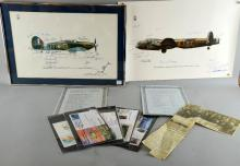Keith Broomfield for the RAF museum commemorating the 40th anniversary of the Battle of Britain signed by all the pilots and a similar print and nine limited edition first day covers for Leonard Cheshire