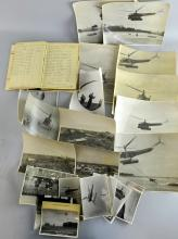 F L Hawke 568543 Flight Engineer Observer's and Air Gunner's  log book 1939 to 1953  and a quantity of black and white photographs mostly helicopters