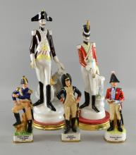 A pair of Italian studies of elongated naval officer and drum player, and three continental studies of a Corporal 15th Dragoons, Captain Infantry of the Legion and Adjutant General.  Makers mark MR. Five in total.