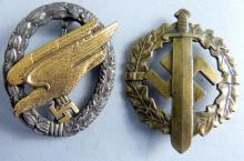 Two Third Reich German  badges: Army paratrooper and military sports