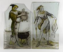 Two painted glass panels,depicting medieval style figures one with fish and another holding a turtle with a ship in the background, 58 x 33 cm and 56 x 33 cm, arch form