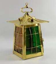 Brass lantern form ceiling light,  with glass in four colours, C 1910 , height 39 cm