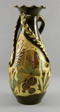Alexander Lauder Barum pottery, large vase with twisted handles, incised decoration of fish, inscribed marks to base, 48 cm