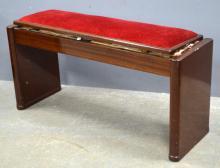 Art Deco mahogany duet piano stool labelled ministool Height 53cm, width 107cm, depth 35cm