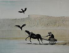 † Arthur  Boyd AC OBE ( Australian 1920 - 1999)  limited edition print of a horse and cart and two birds signed in pencil  55cm x 75cm Provenance: Consigned by a local company  which is closing its factory,  believed to have been purchased by the company in 1970's As this lot is owned by a company registered for VAT we are obliged to charge VAT on the hammer price on this lot