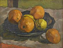 Cyril Mann (1911-1980), still-life with bowl of fruit, signed, oil on canvas, 32cm x 42cm,