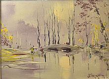 George Richard Deakins (British, 1911-1982). 'Packhorse Bridge', oil on board, signed and dated '79. Framed with artist biog label verso. Image size 30cm x 40cm, frame size 43cm 53cm.