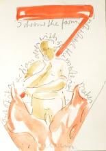 Franz Erhard Walther, sketch of a figure thinking, pencil and watercolour, 'I draw the form....' inscribed verso in pencil 'Drawing for John Burton', 21cm x 15cm, with a short typed and signed letter from Walther to John Burton,