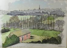 Sydney Arrobus, 'Across the heath from Highgate', signed and dated 1980, 22cm x 30.5cm,