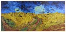 After Vincent van Gogh, modern reproduction of crows over a corn field, 40.5cm x 84cm,