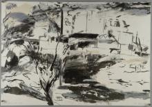 Jane Joseph, b. 1942, 'Chimney, tree and river', signed and dated 1984, limited edition lithograph 12/22, 53.5cm x 77.5cm,