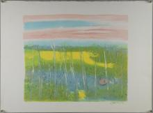 Cathy Boyd, 'Landscape', signed, lithograph, stamped 'Curwen Studio Proof' verso, 57cm x 77.5cm,