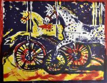 Kate Dicker, 'Toy Racers', II Curwen Archive, signed, lithograph, 25.5cm x 30.5cm,