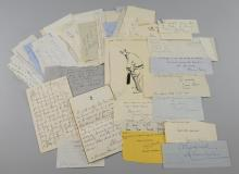 Large collection of Autographs, mainly from the early 20th century, painters, sculptors, novelists, political & others including Josiah Wedgwood, Lord Portal, Ronald Storrs, Herbert Cozens-Hardy, Lady Austen Chamberlain, Lady Fitzgerald, Countess Granville, Cathleen Mann, Zeev Ben-Zvi, Diana Cooper, Gilbert Frankau, Ernest Newman, Bruno Frank, Lord Lytton, Malcolm MacDonald, Marie Stopes, Gladys Ripley, Edwin Evans, Christina Foyle & many others (70 approx)
