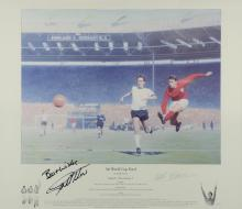 Keith Fearon, 1966 World Cup Football print, signed Geoff Hurst & Keith Fearon, framed, 19 x 22 inches