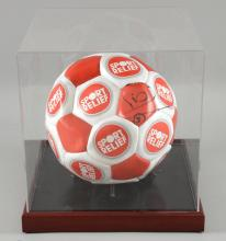 Football - Rio Ferdinand signed Sport Relief football, in presentation case, 10.5 x 10 inches