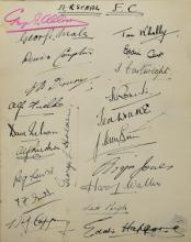 Autograph Album - including Alfredo Campoli, Robert Donat, Edmund Willard, Arsenal Football Club from the 1930's including George Allison, Alf Fields, Sid Pugh, Denis Compton, Reg Lewis, Leslie Compton, Albert Young, Les Jones, B. Joy & others, Australian XI - Gt. Britain Cricket 1938, 16 signatures, 90+ signatures in total, Midland bank Aunal Athletic Program with three signatures and signed photo of Billy Connolly and Anneka Rice