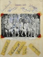Autograph album - Cricket signatures including Somerset 1st XI 1958, Glamorgan 1st XI, Warwickshire 1st XI 1960-62, Essex 1961, Middlesex 1962, Kent 1962, Glamorgan 1964, Surrey 1957 & 1964, & others