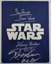 Star Wars, original cast brochure signed on the front by Dave Prowse, Kenny Baker & another, 11 x 8.5 inches