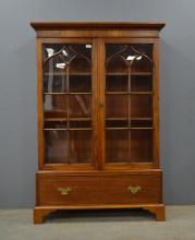 Mahogany glazed bookcase with drawer to