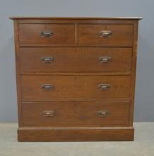 Early 20th century oak chest of two shor