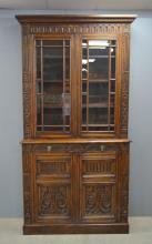 Early 20th century oak bookcase cabinet
