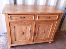 Pine cupboard with two drawers over two