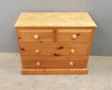 Modern pine chest, two small over two lo