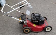 Red Mountfield petrol lawnmower