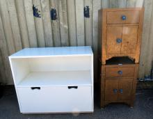 Pair of bedside cupboards, chest of seve