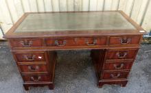 Reproduction mahogany pedestal writing d