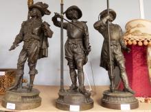 Set of three Spelter lamps:  Don Juan, D