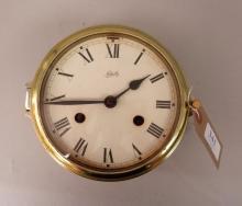 Schatz ship's clock in circular brass ca