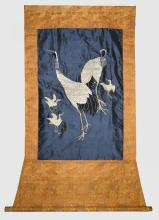 Chinese silk work of cranes, 77cm x 50cm,