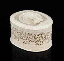 Early 20th century Indian ivory pot and cover with pierced b