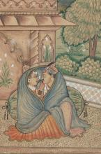 Two Indian miniature paintings depicting lovers, the first w